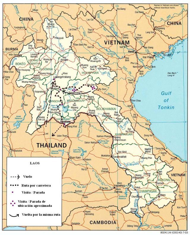 mapa del viaje